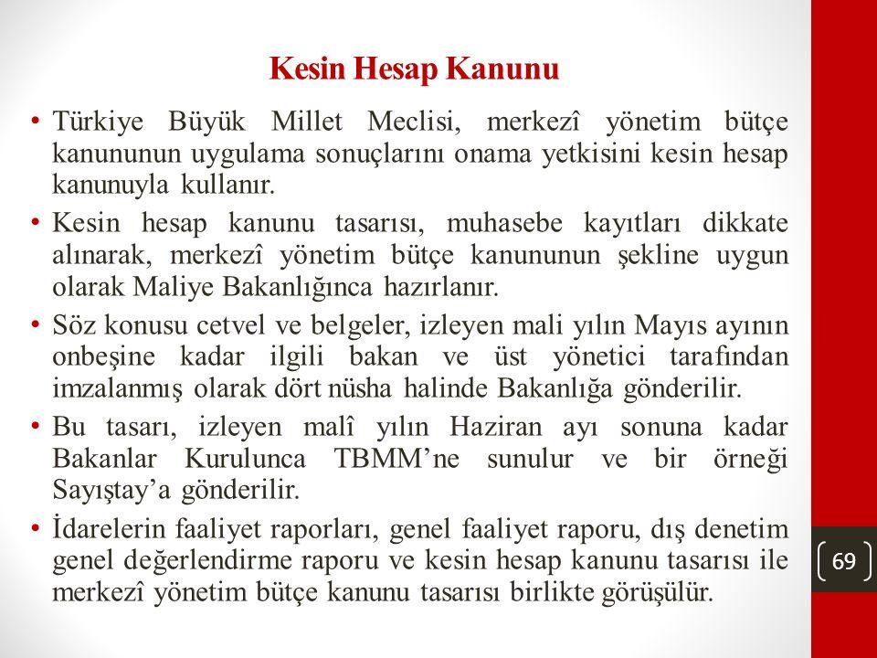 69 Kesin Hesap Kanunu • Türkiye Büyük Millet Meclisi, merkezî yönetim bütçe kanununun uygulama sonuçlarını onama yetkisini kesin hesap kanunuyla kullanır.