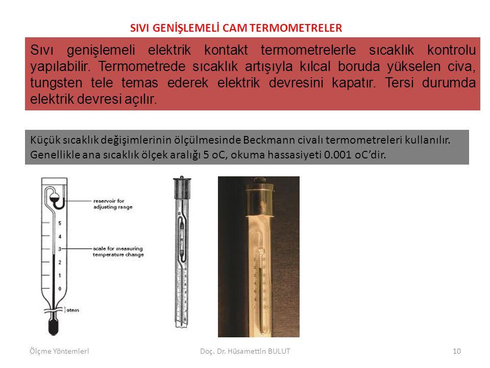 SIVI GENİŞLEMELİ CAM TERMOMETRELER Bir Ortamın en yüksek ve en düşük sıcaklıklarını tespit etmek için Maksimum-minimum termometresi kullanılır.