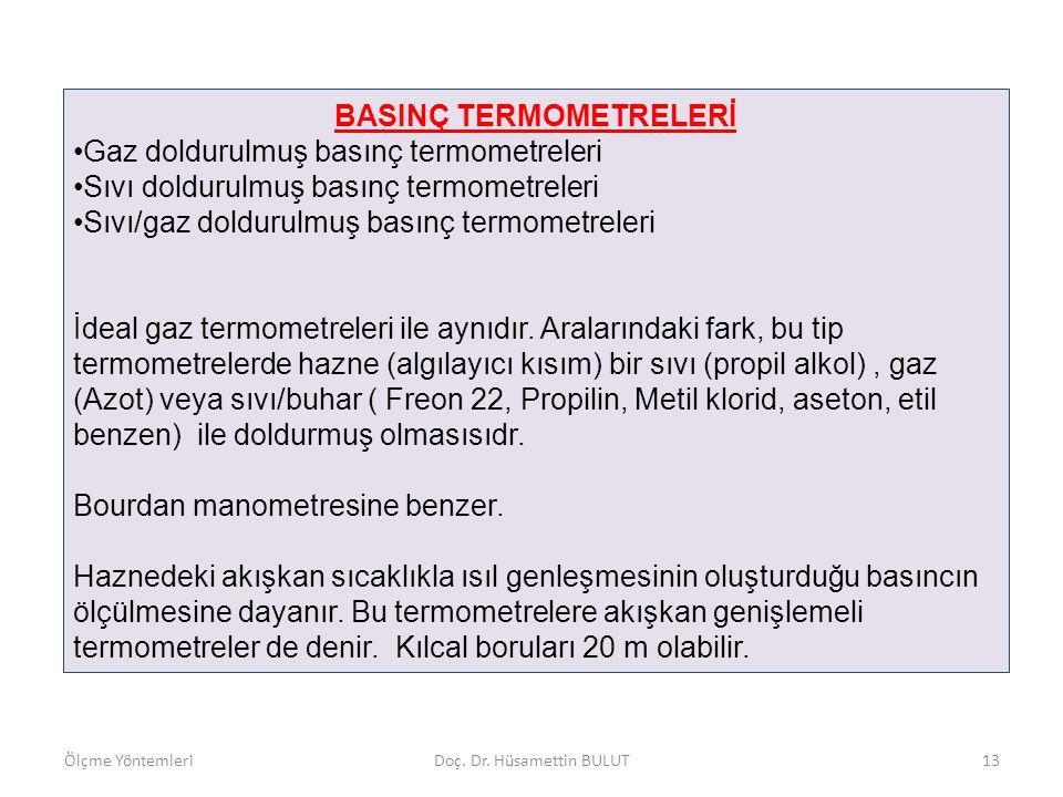 BASINÇ TERMOMETRELERİ Ölçme YöntemleriDoç. Dr. Hüsamettin BULUT14