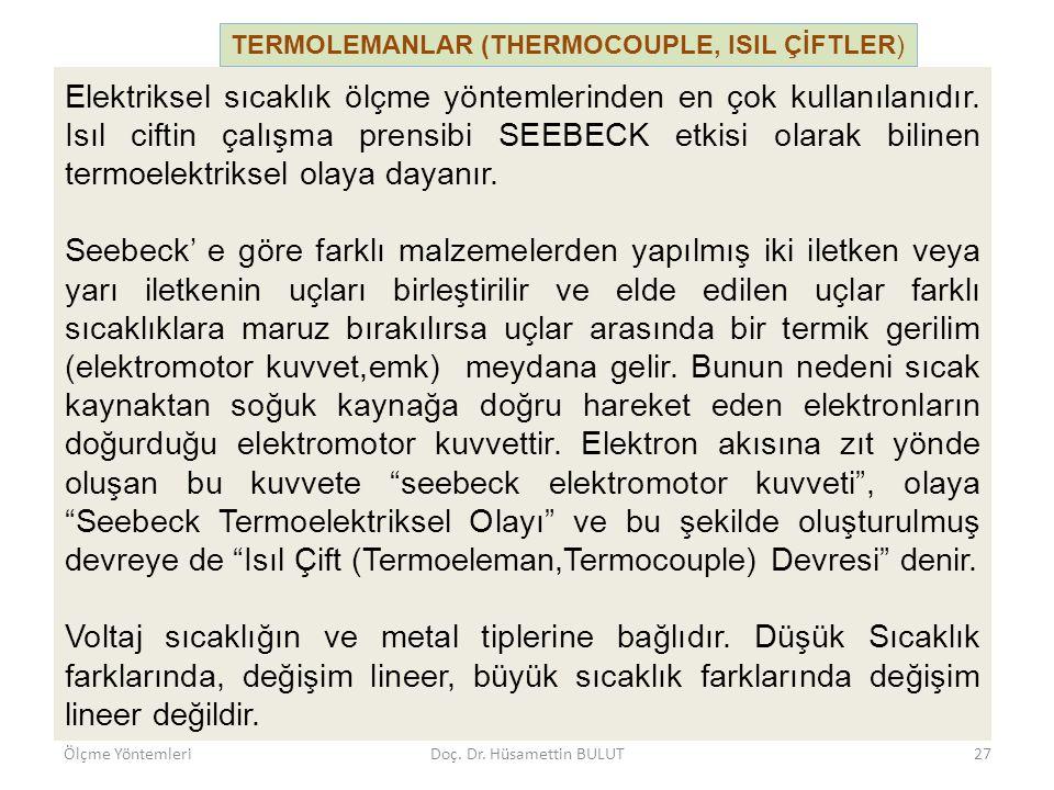 TERMOLEMANLAR (THERMOCOUPLE, ISIL ÇİFTLER) Ölçme YöntemleriDoç. Dr. Hüsamettin BULUT28