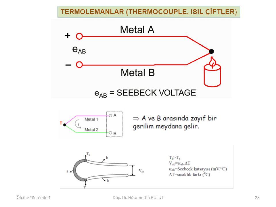 TERMOLEMANLAR (THERMOCOUPLE, ISIL ÇİFTLER) Ölçme YöntemleriDoç. Dr. Hüsamettin BULUT29