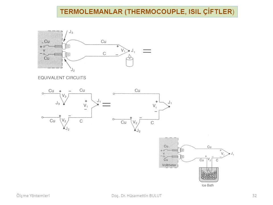 TERMOLEMANLAR (THERMOCOUPLE, ISIL ÇİFTLER) Termoeleman ile yapılan ölçmelerde, referans noktasının sıcaklığı termistör veya direnç termometresi gibi bir eleman yardımıyla da tespit edilir.