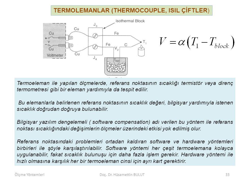 TERMOLEMANLAR (THERMOCOUPLE, ISIL ÇİFTLER) Ölçme YöntemleriDoç. Dr. Hüsamettin BULUT34