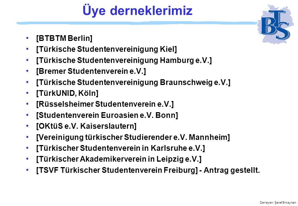 Derleyen: Şeref Erkayhan Üye derneklerimiz • [BTBTM Berlin] • [Türkische Studentenvereinigung Kiel] • [Türkische Studentenvereinigung Hamburg e.V.] • [Bremer Studentenverein e.V.] • [Türkische Studentenvereinigung Braunschweig e.V.] • [TürkUNID, Köln] • [Rüsselsheimer Studentenverein e.V.] • [Studentenverein Euroasien e.V.