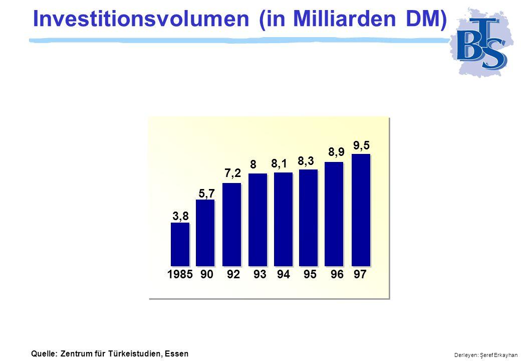 Derleyen: Şeref Erkayhan Investitionsvolumen (in Milliarden DM) 1985 90 92 93 94 95 96 97 3,8 5,7 7,2 8 8,1 8,3 8,9 9,5 Quelle: Zentrum für Türkeistudien, Essen