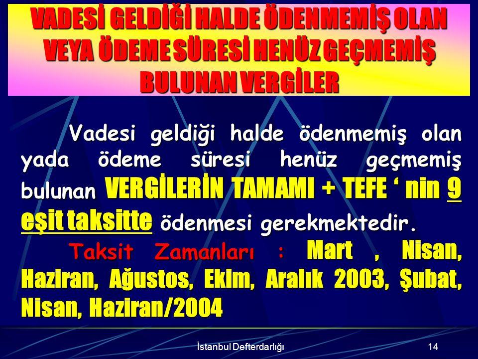 İstanbul Defterdarlığı15 ÖRNEK : AHMET ASLAN, gerçek usulde gelir vergisi mükellefi olup, Ocak 1999 dönemine ilişkin 1.000.000.000 TL Katma Değer Vergisi borcunu ödememiştir.