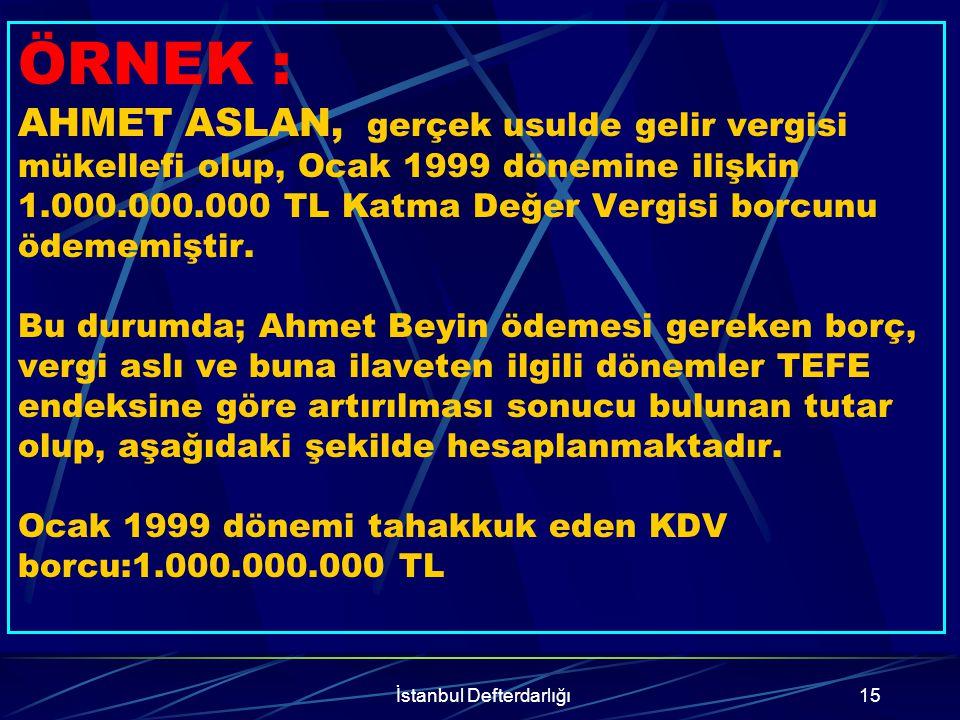 İstanbul Defterdarlığı16 TEFE'ye göre endekslenerek bulunan tutar:Ocak 1999 dönemine ait KDV'nin son ödeme tarihi (vade), 25 Şubat 99 olduğundan bu tarihten kanunun yürürlülüğe girdiği tarihe kadar (Ocak 2003'te yayınlandığı düşünüldüğünde Aralık 2002'ye kadar) aylık tefe oranlarının toplamı %164,9'dur.(392,7-227,8=164,9) Endekslemede bulunan tutar 1.000.000.000 TL x %164,9=1.649.000.000 TL'dir.