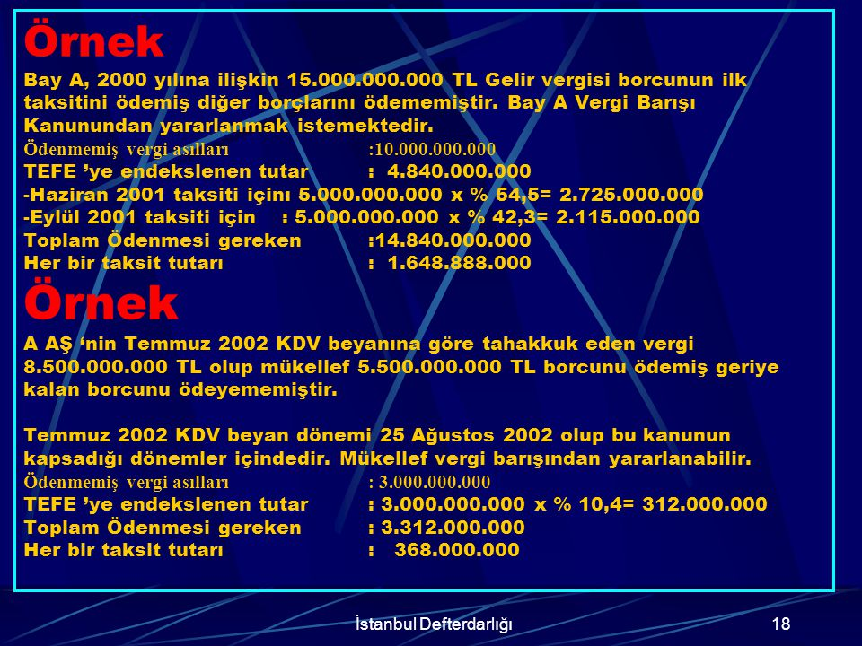 İstanbul Defterdarlığı19 Örnek A Ltd.Şti.