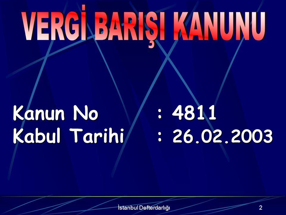 İstanbul Defterdarlığı3 213 Sayılı V.U.K.Kapsamına 213 Sayılı V.U.K.
