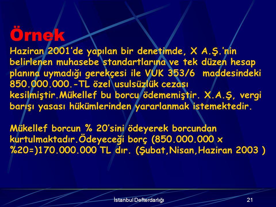 İstanbul Defterdarlığı22 Kanunun yürürlüğe girdiği tarih itibarıyla ödenmemiş borcun sadece vergi aslına bağlı kesilen cezalardan ve bunlara ilişkin gecikme zamlarından ibaret olması halinde bu cezaların ve bunlara ilişkin gecikme zamlarının tamamının tahsilinden vazgeçilir.