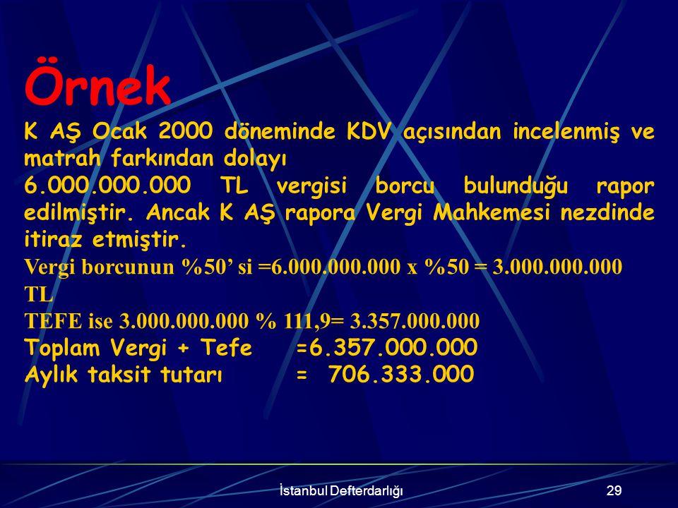 İstanbul Defterdarlığı30 ÜST MAHKEMELERDE DAVA AÇILMIŞ YA DA DAVA AÇMA SÜRESİ HENÜZ GEÇMEMİŞ OLAN TARHİYATLAR 1-Son Kararın Terkin Kararı Olması Halinde Bölge idare mahkemeleri nezdinde itiraza veya Danıştay nezdinde temyize ilişkin olarak dava açılmış ya da dava açma süresi henüz geçmemiş olan ikmalen, re'sen veya idarece yapılmış tarhiyatlarda, tarhiyatın bulunduğu en son safhadaki tutar esas alınır.