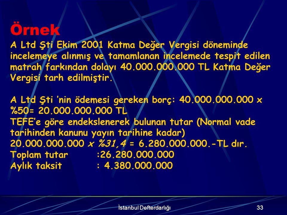 İstanbul Defterdarlığı34 İştirak, teşvik ve yardım fiilleri nedeniyle kesilecek vergi ziyaı cezalarında, cezaya muhatap olanların, CEZANIN % 20 si + TEFE, ihbarnamenin tebliğ tarihinden itibaren otuz gün içerisinde yazılı başvuruda bulunularak, ihbarnamenin tebliğini izleyen aydan başlamak üzere oniki ayda ve altı eşit taksitte ödenmesi gerekmektedir.