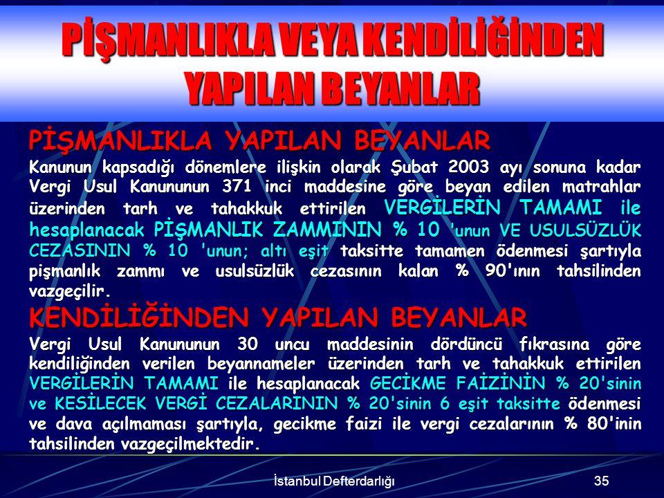 İstanbul Defterdarlığı36 Gelir ve kurumlar vergisi mükellefleri vermiş oldukları yıllık beyannamelerinde vergiye esas alınan matrahlarını, 1998 Yılı için % 30, 1999 Yılı için % 25, 2000 Yılı için % 20, 2001 Yılı için % 15, nispetlerinden az olmamak üzere artırmaları gerekir.