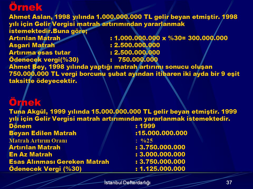 İstanbul Defterdarlığı38 Örnek Ateks A.Ş, 2000 yılında 150.000.000.000 TL beyan etmiştir.