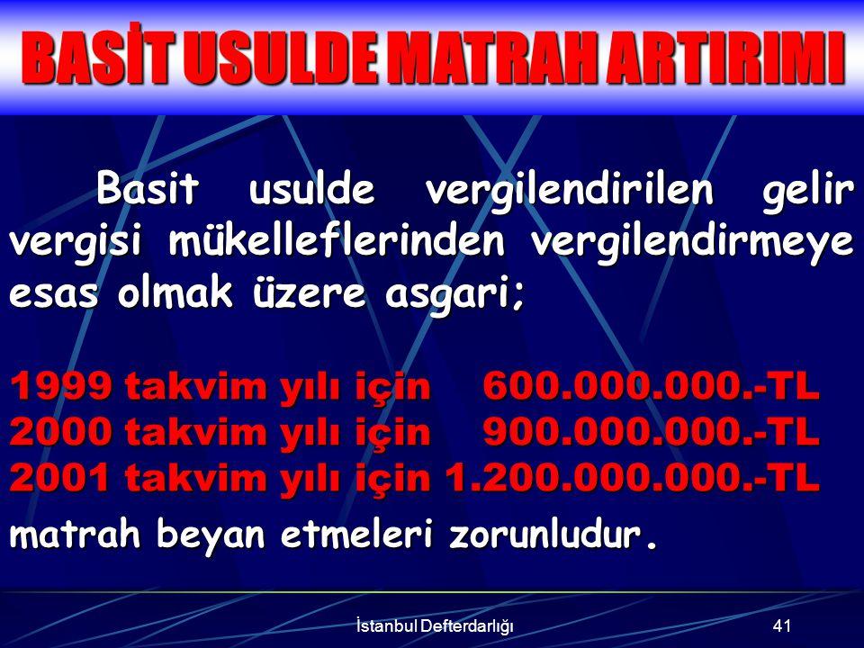 İstanbul Defterdarlığı42 Katma değer vergisi mükelleflerinin; her bir vergilendirme dönemine ilişkin olarak verdikleri beyannamelerindeki hesaplanan katma değer vergisini yıllık toplamı üzerinden; 1998 için% 3 1999 için% 2.5 2000 için% 2 2001 için% 1.5 nispetinde artırılması şarttır.