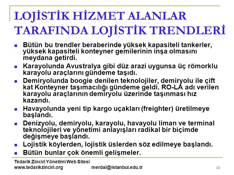 Tedarik Zinciri Yönetimi Web Sitesi www.tedarikzinciri.org merdal@istanbul.edu.tr 11 LOJİSTİK HİZMET ÜRETENLER TARAFINDA LOJİSTİK TRENDLERİ Bu başlığı;  Dünya ile  Türkiye açısından iki ana başlık altında incelemek gerekir.