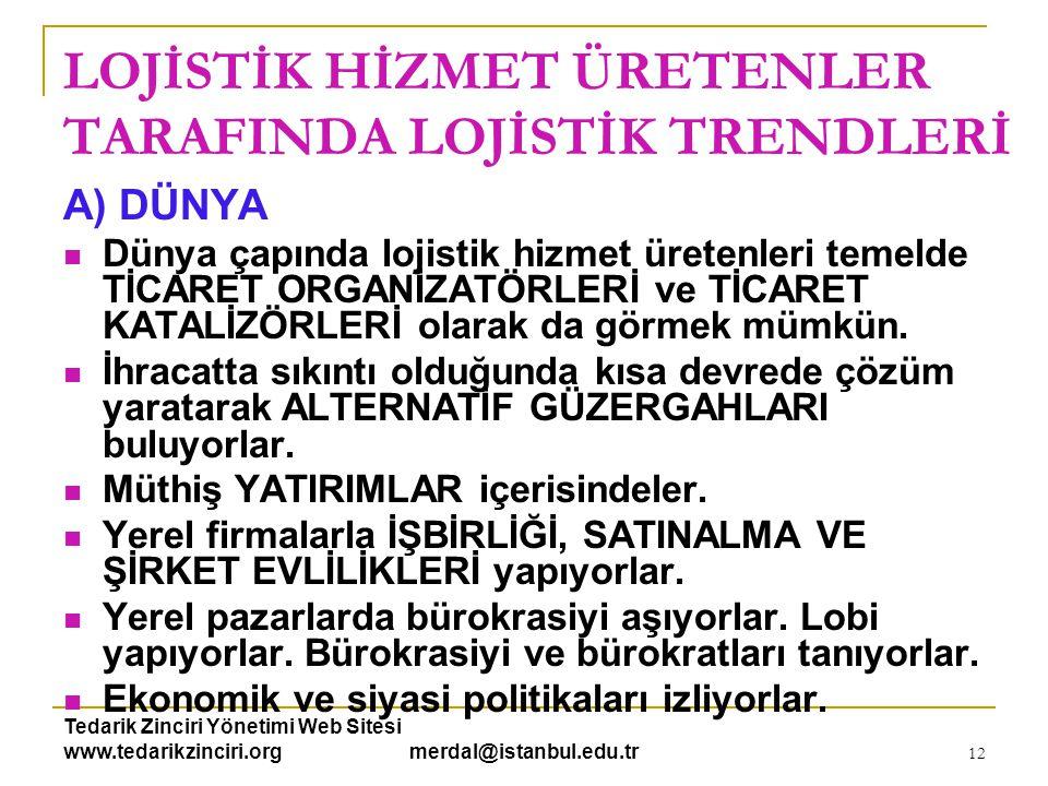Tedarik Zinciri Yönetimi Web Sitesi www.tedarikzinciri.org merdal@istanbul.edu.tr 13 LOJİSTİK HİZMET ÜRETENLER TARAFINDA LOJİSTİK TRENDLERİ A) DÜNYA  Ekonomik anlamda bilgi toplayıcısı ve işleyicisiler, bir anlamda EKONOMİK İSTİHBARAT ÇALIŞMASI yapıyorlar.