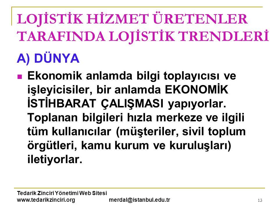 Tedarik Zinciri Yönetimi Web Sitesi www.tedarikzinciri.org merdal@istanbul.edu.tr 14 LOJİSTİK HİZMET ÜRETENLER TARAFINDA LOJİSTİK TRENDLERİ B) TÜRKİYE  Sektörde uzmanlaşma ve rekabet artıyor.