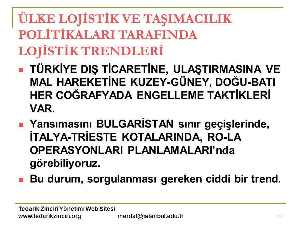 Tedarik Zinciri Yönetimi Web Sitesi www.tedarikzinciri.org merdal@istanbul.edu.tr 28  DEMİRYOLU, DENİZYOLU ve  HAVAYOLU VE KARAYOLUNDA ÖNEMLİ GELİŞMELER VAR.