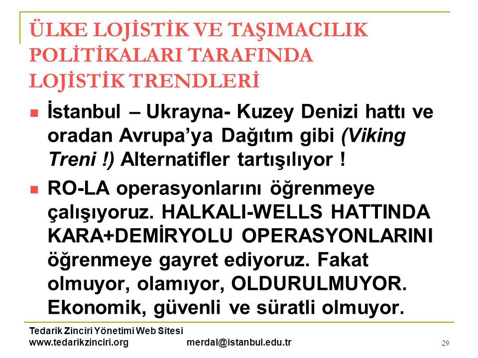 Tedarik Zinciri Yönetimi Web Sitesi www.tedarikzinciri.org merdal@istanbul.edu.tr 30  VAN-TATVAN (Demiryolu + Su Yolu) HATTINI AŞABİLMEYİ umut ediyoruz.
