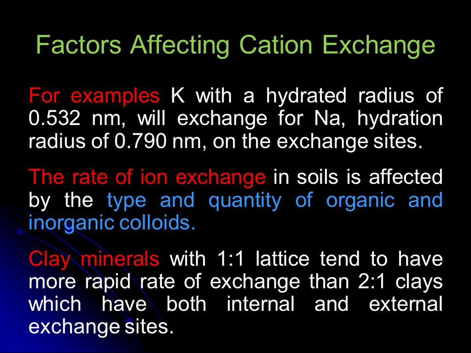 Cation Exchange Capacity of Soil Cation-exchange capacity (CEC) is defined as the quantity of cations that are reversibly adsorbed per unit mass of the (dry) matter.