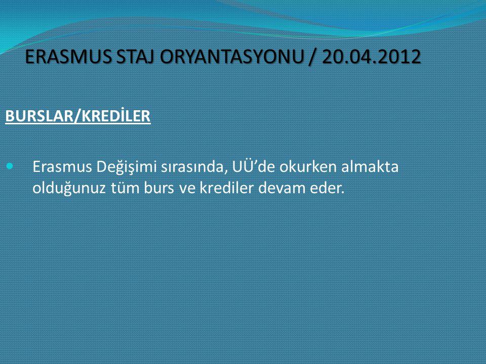 ERASMUS ID KODLARI UÜ'nün Erasmus ID Kodu: TR BURSA01 ERASMUS STAJ ORYANTASYONU / 20.04.2012