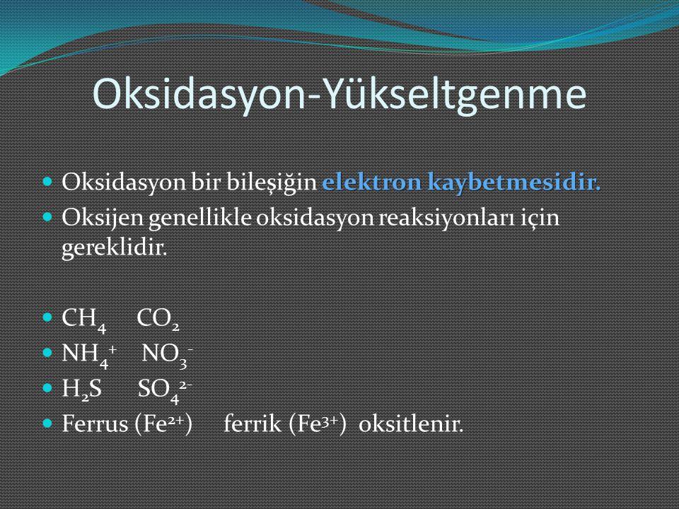 Oksidasyon durumları için genel kurallar Serbest elementlerin oksidasyon durumu sıfırdır.