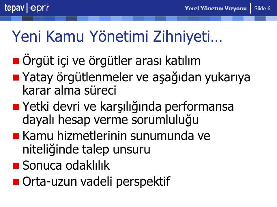 Yerel Yönetim Vizyonu Slide 7 Türkiye'de Sorgulama Süreci Habitat Zirvesi Depremler Avrupa Birliği Süreci 2000-2001 Ekonomik Kriz