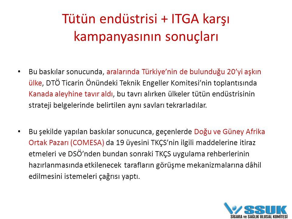 Tütün endüstrisinin katkı maddeleri konusunda Türkiye'nin sağlık politikalarına müdahaleleri Tütün köylüsüne ihracat aldatmacasıyla yanına çekme girişimleri Sanayi ve Ticaret Bakanlığı ile İhracatçı Birlikleri sayesinde organik bütünlük sağlanması TAPDK Başkanı'nın ITGA'nın Uruguay öncesinde kampanya değerlendirmesinin yapılacağı Kentucky toplantısına davet edilmesi