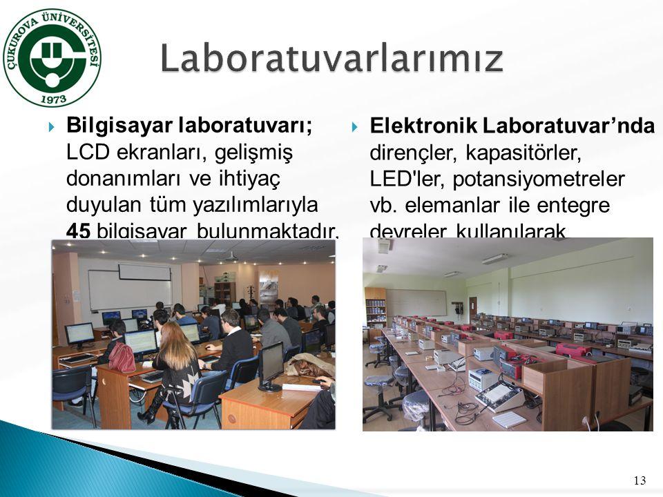  Robotik Laboratuvarı; kontrol sistemleri ve robotik konularında uygulamalı ve teorik araştırma/öğretim yapma amacıyla kurulmuştur 14  Lojik Laboratuvarı; mikroişlemciler alanında öğrencilere pratik deneyim kazandırmak ve teorik bilgileri uygulamayla pekiştirmelerini sağlamak amacıyla kurulmuştur.