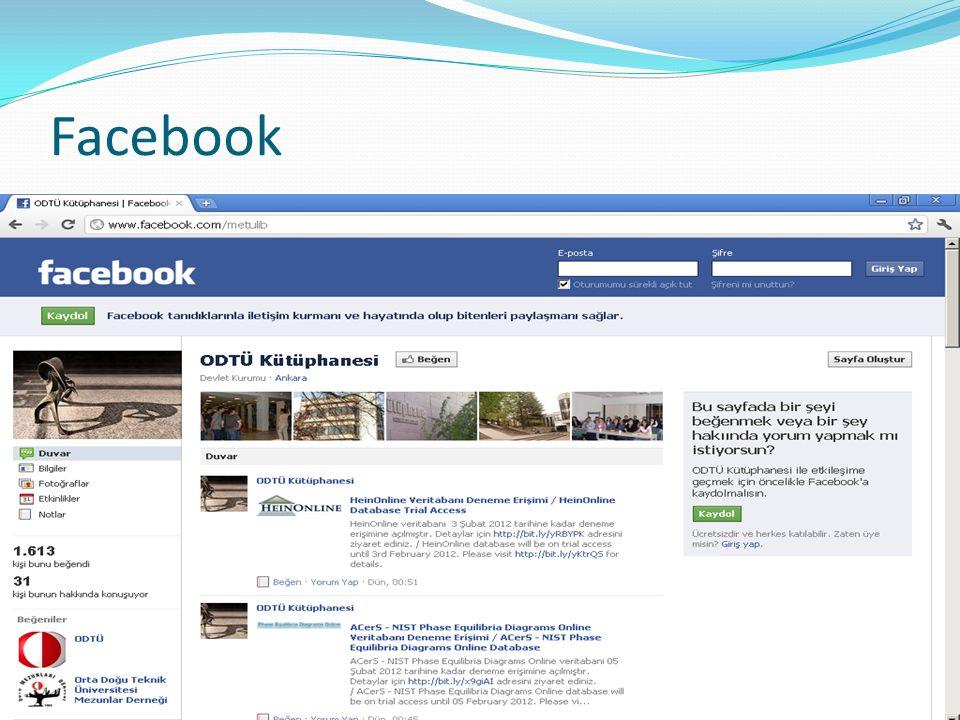 ODTÜ Kütüphanesi Facebook Sayfası 10 Şubat 201110 Ekim 201111 Ocak 2012 Beğenen kişi sayısı 331.2871.613