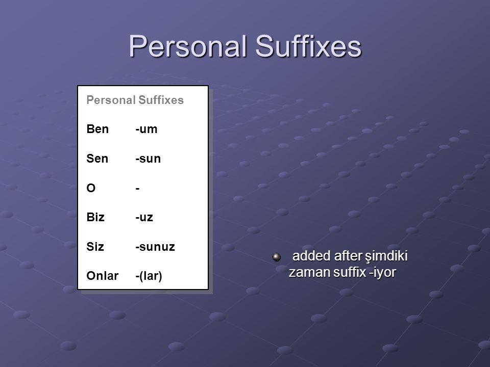 Personal Suffixes added after şimdiki zaman suffix -iyor added after şimdiki zaman suffix -iyor Personal Suffixes Ben-um Sen-sun O- Biz-uz Siz-sunuz Onlar-(lar) Personal Suffixes Ben-um Sen-sun O- Biz-uz Siz-sunuz Onlar-(lar)