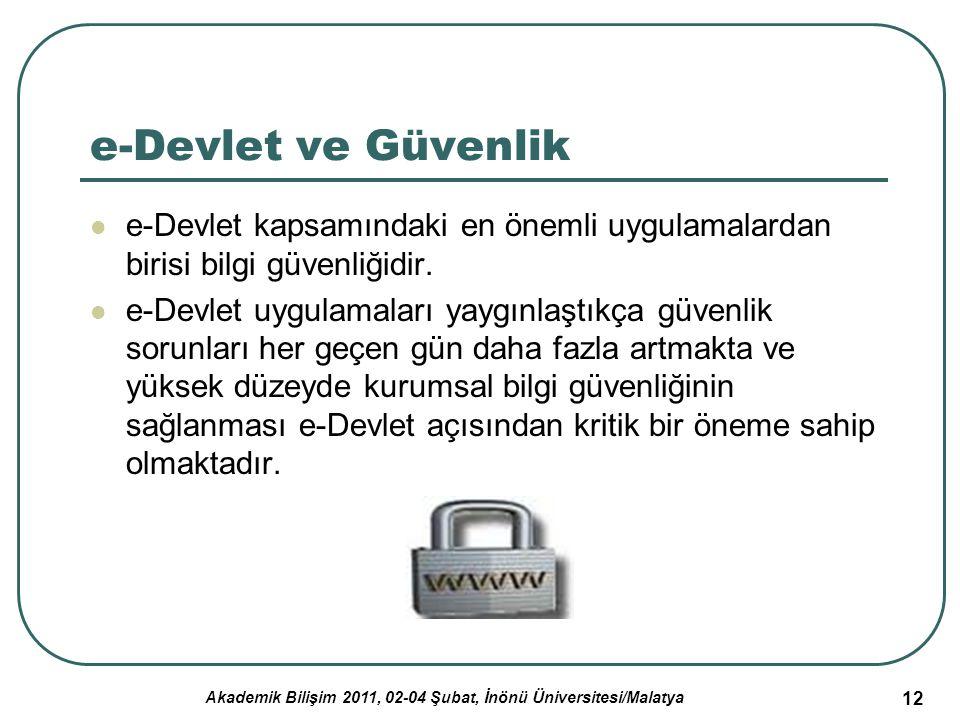Akademik Bilişim 2011, 02-04 Şubat, İnönü Üniversitesi/Malatya 13 e-Devlet ve Güvenlik (2) e-Devlet hizmetlerinde güvenlik unsurları: Gizlilik Veri bütünlüğü İzlenebilirlik ya da kayıt tutma Süreklilik Kimlik sınaması Güvenirlik İnkar edememe