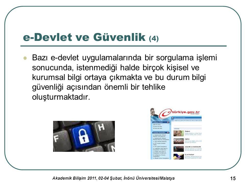Akademik Bilişim 2011, 02-04 Şubat, İnönü Üniversitesi/Malatya 16 e-Devlet ve Güvenlik (5) e-Devlet oluşumunda bilgi güvenliği vazgeçilmez ve önceliği çok yüksek uygulamalardan biridir.