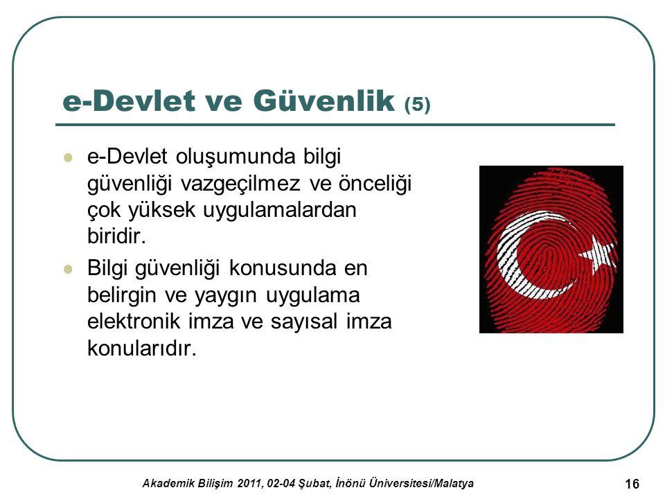 Akademik Bilişim 2011, 02-04 Şubat, İnönü Üniversitesi/Malatya 17 Türkiye e-Devlet Uygulamalarının Değerlendirilmesi OECD tarafından 2006 yılında tamamlanan e- Devlet Türkiye Araştırmasına göre Türkiye e-Devlet uygulamasında büyük çaplı ilerlemeler kaydetmektedir.
