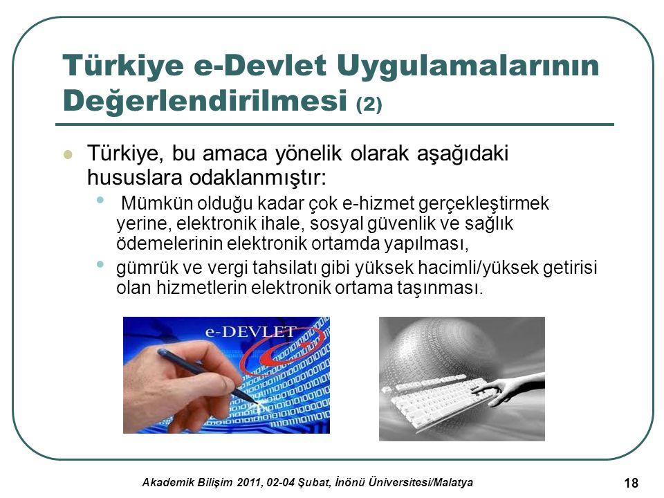 Akademik Bilişim 2011, 02-04 Şubat, İnönü Üniversitesi/Malatya 19 Türkiye e-Devlet Uygulamalarının Değerlendirilmesi (3) e-Devletin altyapısının kurulması Vergi daireleri, Maliye Bakanlığı muhasebe birimleri, ulusal yargı ağı ve ulusal polis ağı gibi BDT ağları Vatandaş ve vergi numarası veri tabanının hazırlanması Kimlik bilgilerinin yetkili kamu kurumlarınca paylaşılması her gerçek ve tüzel kişiye tek bir kimlik numarası tahsisi yapılması