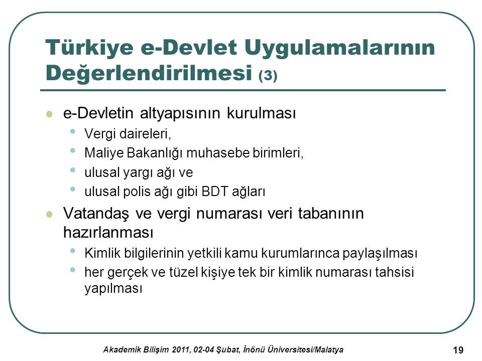 Akademik Bilişim 2011, 02-04 Şubat, İnönü Üniversitesi/Malatya 20 Tartışma, Sonuç ve Öneriler Bilgi ve iletişim teknolojileri alanında batı dünyasındaki gelişmelere paralel olarak, özellikle e- Devlet konusunda Türkiye'de de projeler üretilmiş ve bu stratejilere uygun projeler geliştirilmiştir.