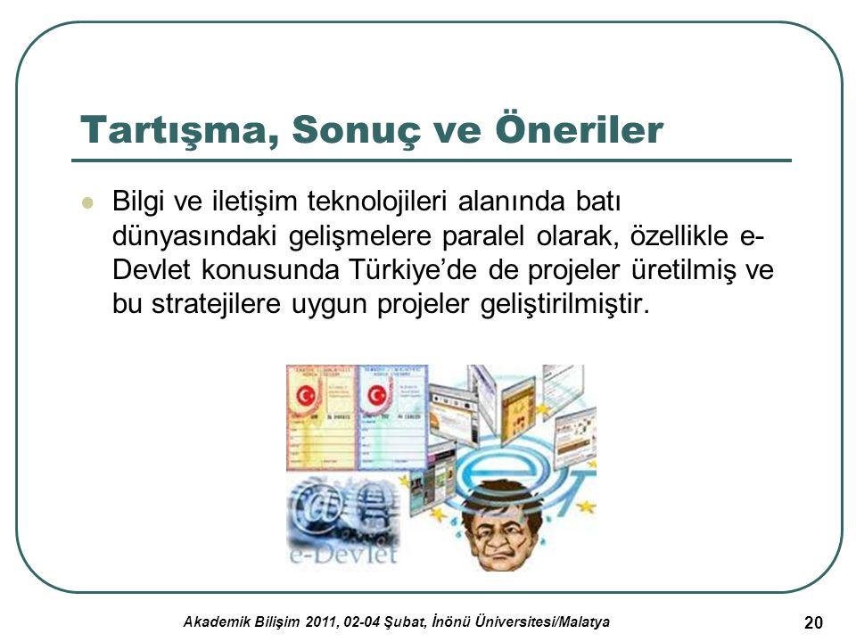 Akademik Bilişim 2011, 02-04 Şubat, İnönü Üniversitesi/Malatya 21 Tartışma, Sonuç ve Öneriler (2) Bilgi ve iletişim teknolojileri kullanımı ve üretiminde yeterli düzeyde olmayan ülkemizde e-Devlet konusunda istenilen noktaya gelebilmek için; toplumun bilinçlendirilmesi nitelikli insan gücünün yetiştirilmesi icin insan kaynaklarına önem verilmesi teknik altyapı sorunun çözülmesi gereklidir.