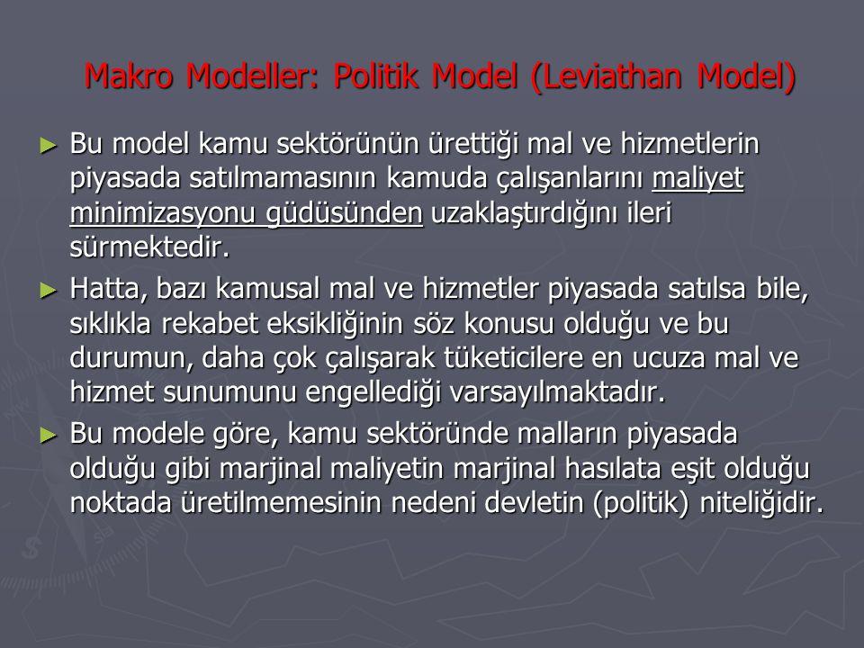 Makro Modeller: Politik Model (Leviathan Model)(2) ► Bunun sonucunda kamu harcamaları gereksiz biçimde artış göstermekte, bu durum vergi mükellefleri açısından kabul edilemez bir yük ortaya çıkarmaktadır.