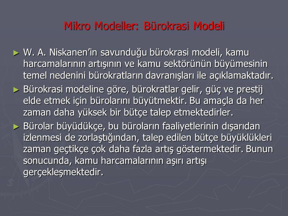 Mikro Modeller: Seçmen Davranışı Modeli ► Seçmen davranışı modeli, kamu harcamalarının artış nedenini seçmenlerin davranışları ile açıklamaya çalışmaktadır.