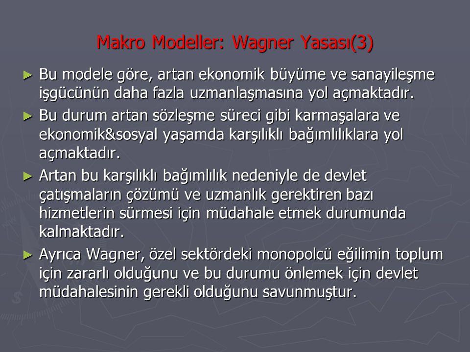 Makro Modeller: Wagner Yasası(4) ► Wagner'e göre, devlet aynı zamanda kamusal malları üretmek durumundadır.