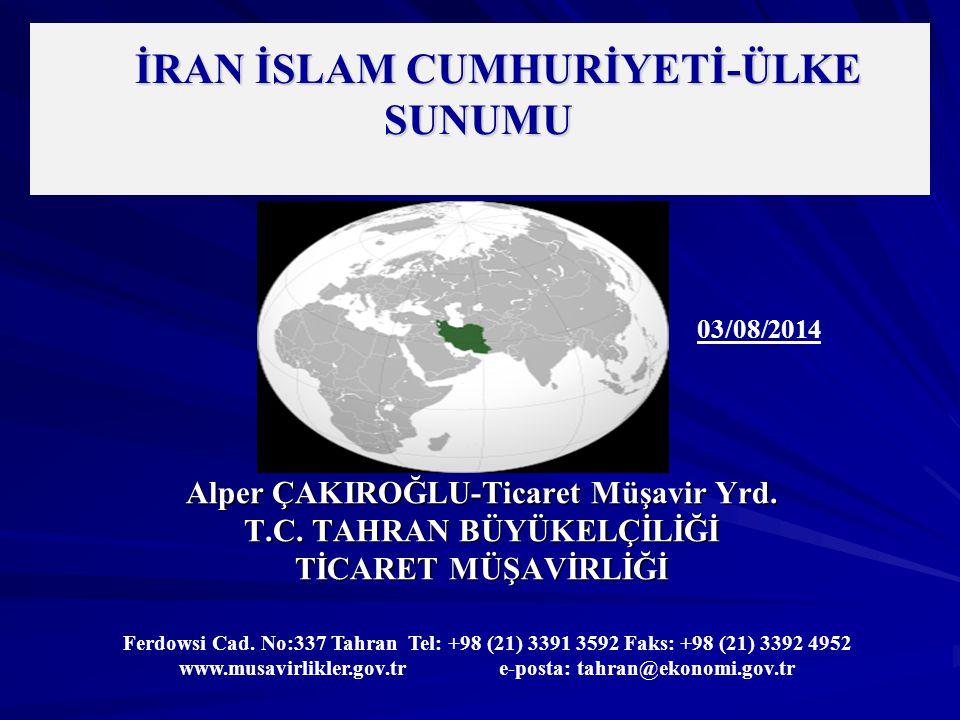 İRAN – TEMEL GÖSTERGELER Yüzölçümü : 1.648.195 km² (Dünya Sıralamasında 18.) (Birleşmiş Milletler) GSYİH (Nominal): 368,9 milyar $ (Dünya Sıralamasında 32.) (Dünya Bankası, 2013) Enflasyon: %27,7 (İran Merkez Bankası) İran Yılı: 1393 (21 Mart 2014-20 Mart 2015) Mesai Günleri: Cumartesi, Pazar, Pazartesi, Salı, Çarşamba Döviz Kuru: 1$ :31.400 İran Riyali (Serbest Piyasa) 26.302 İran Riyali (Resmi Kur) (İran Merkez Bankası) 1 Euro: 42.450 İran Riyali (Serbest Piyasa) 35.327 İran Riyali (Resmi Kur) (İran Merkez Bankası)