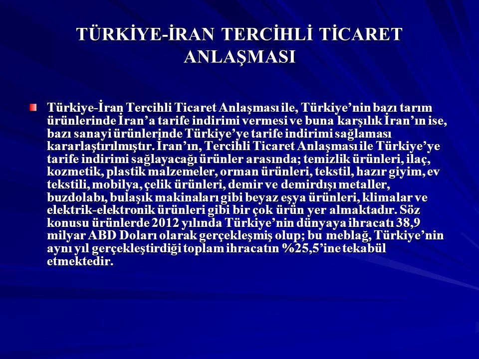TÜRKİYE-İRAN TERCİHLİ TİCARET ANLAŞMASI Ayrıca, Tercihli Ticaret Anlaşması kapsamında İran'ın Türkiye'ye tarife indirimi yapmayı kabul ettiği sanayi ürünlerinde 2012 yılında Türkiye'nin İran'a ihracatı yaklaşık 830 milyon ABD Doları olarak gerçekleşmiştir.