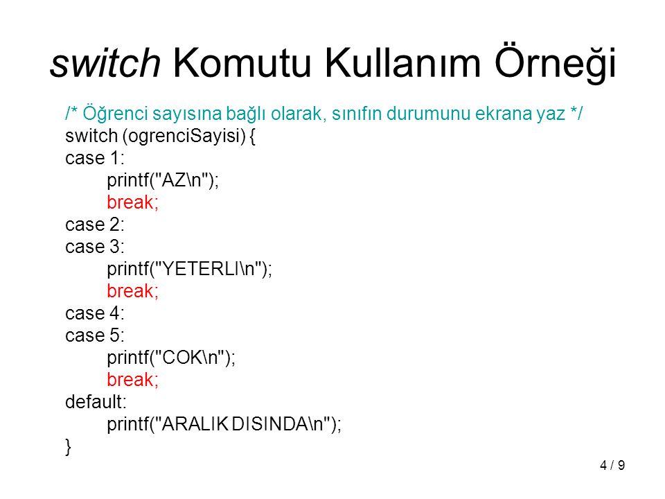 5 / 9 Döngü Komutları: while while ( ) { }