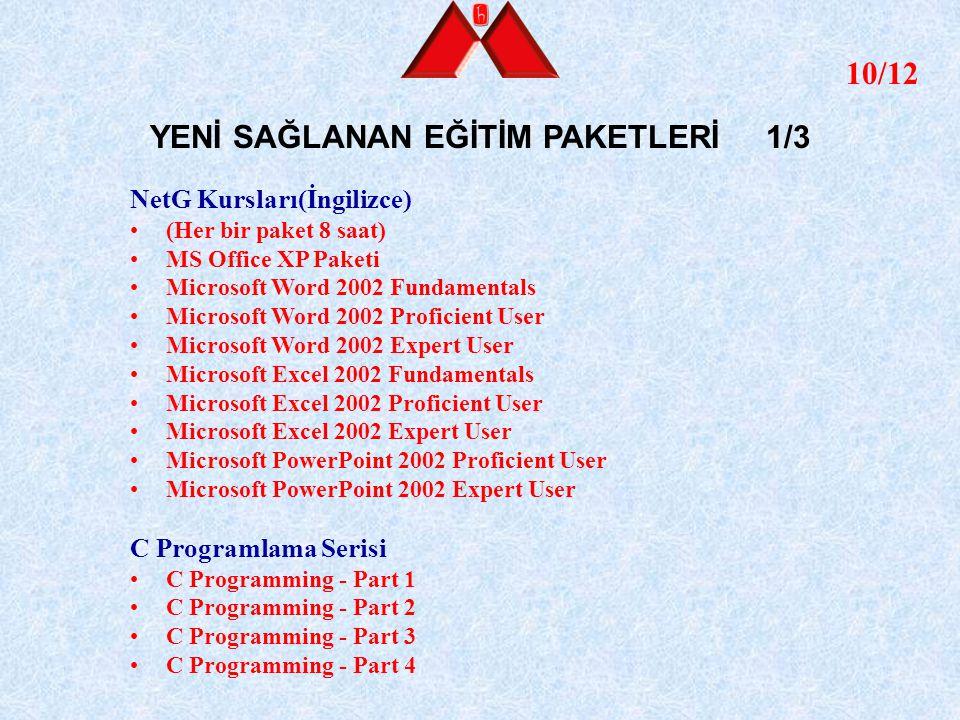 11/12 YENİ SAĞLANAN EĞİTİM PAKETLERİ 2/3 C++ Programlama Serisi C++ Programming - Part 1 C++ Programming - Part 2 C++ Programming - Part 3 C++ Programming - Part 4 Proje Yönetimi Serisi Managing IT Projects: Project Initiation and Fundamentals Managing IT Projects: Project Planning and Execution Managing IT Projects: Project Control and Closure