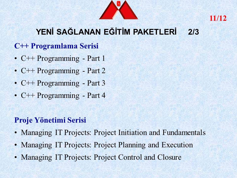 12/12 YENİ SAĞLANAN EĞİTİM PAKETLERİ 3/3 Java Programlama Java 2 Programming for SDK 1.4 Part 1 Language Fundamentals 1 Java 2 Programming for SDK 1.4 Part 2 Language Fundamentals 2 Java 2 Programming for SDK 1.4 Part 3 Object-Oriented Concepts Java 2 Programming for SDK 1.4 Part 4 Language Features Java 2 Programming for SDK 1.4 Part 5 Threads and Error Handling Java 2 Programming for SDK 1.4 Part 6 Utility Classes Java 2 Programming for SDK 1.4 Part 7 Input and Output Java 2 Programming for SDK 1.4 Part 8 Collections Nesneye Yönelik Teknolojiler Serisi Object-Oriented Analysis and Design with UML Part 1: Introduction and Planning Object-Oriented Analysis and Design with UML Part 2: Analysis, State Diagrams and Activity Diagrams Object-Oriented Analysis and Design with UML Part 3: Interaction Diagrams, Class Diagrams and Packages Object-Oriented Analysis and Design with UML Part 4: Patterns, Implementation and Construction