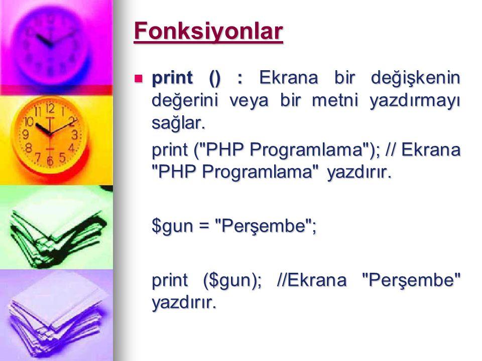 gettype() : Bir değişkenin ne tür bir veri içerdiğini döndürür gettype() : Bir değişkenin ne tür bir veri içerdiğini döndürür $ders_adi = PHP Programlama ; $ders_adi = PHP Programlama ; print gettype($adi); // Ekrana string yazılacaktır print gettype($adi); // Ekrana string yazılacaktır settype() : Bir değişkenin veri türünü değiştirmek için kullanılır settype() : Bir değişkenin veri türünü değiştirmek için kullanılır $sonuc = 75 ; // Karakter türdeki $sonuc değişkenine 75 değeri atanıyor.