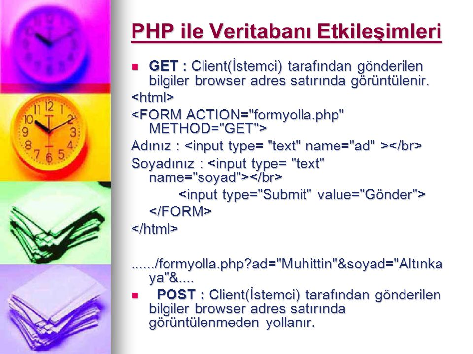 PHP Kullanarak MYSQL bağlanmak Mysql_connect( localhost , root , sifre ); Mysql_connect( localhost , root , sifre ); Mysql_select_db( baslangicdb ); Mysql_select_db( baslangicdb );