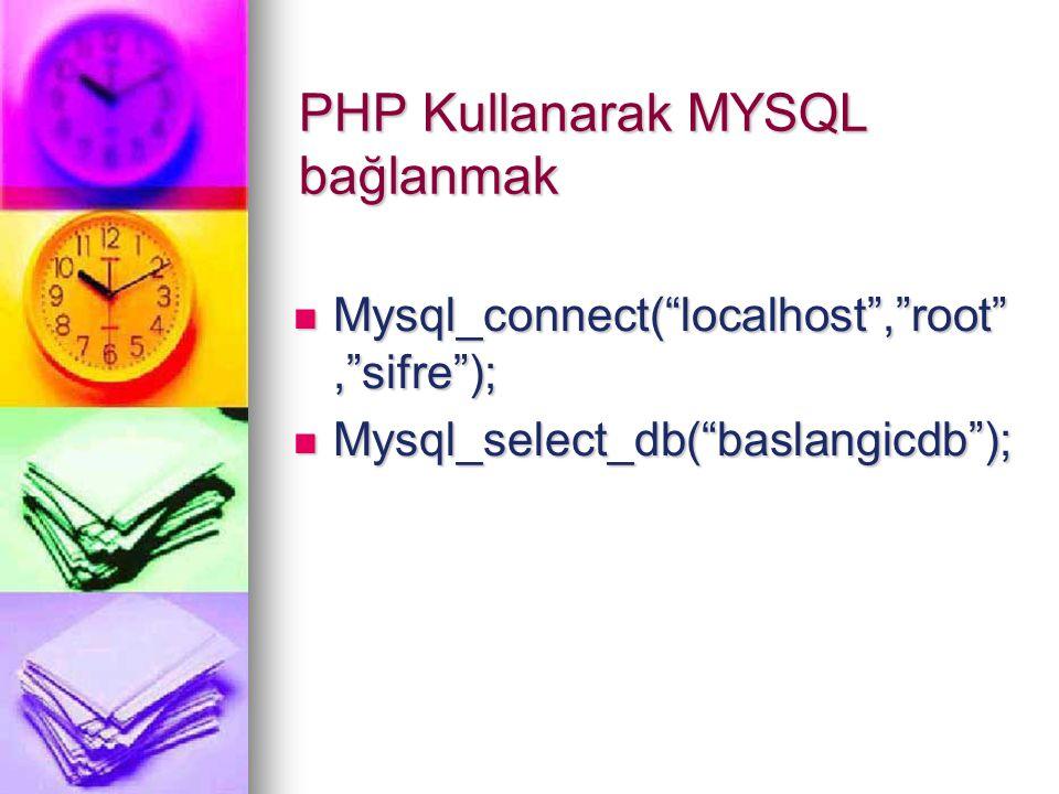 MySql'e SQL sorgusu göndermek mysql_query() mysql_query() $isimler = mysql_query( select * from ögrenciler ); mysql_result() mysql_result() $ad=mysql_result($isimler,$i, ad ); mysql_numrows() mysql_numrows()$sayi=mysql_numrows($isimler) mysql_fetch_array() mysql_fetch_array() $gelen = mysql_fetch_array($result)
