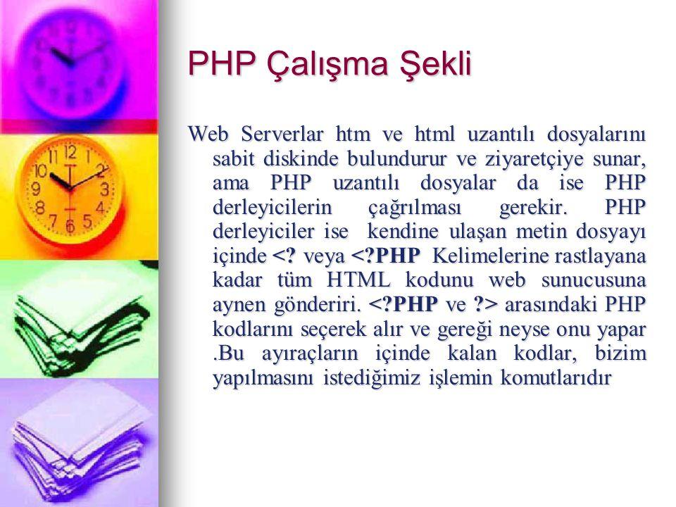 PHP Özelikleri PHP Kodları HTML tagları içine gömülür.
